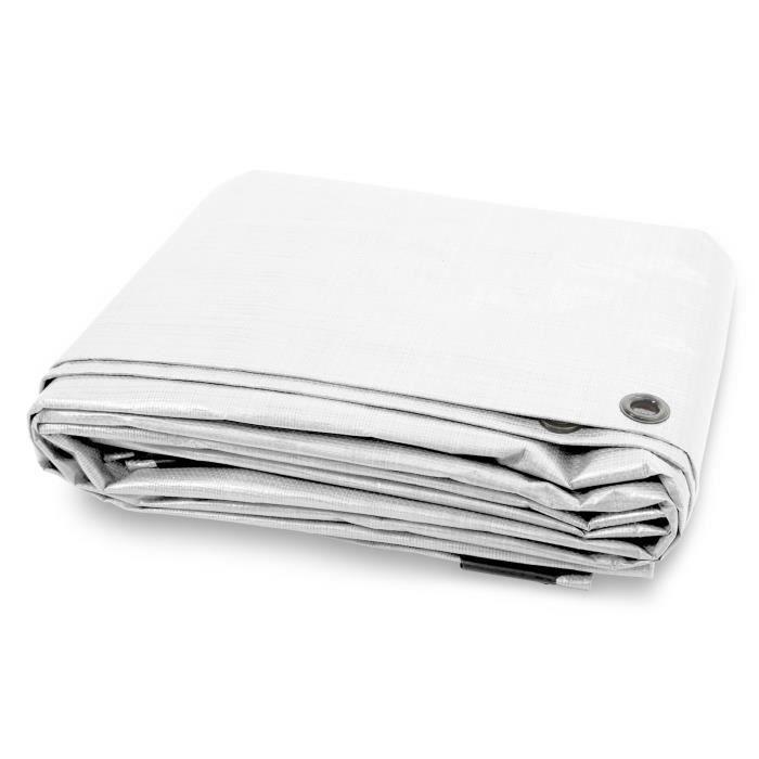 Bache de Protection - Blanc 10x15 m - Bache Imperméable avec œillet - Densité 140g Résistante Eau & UV