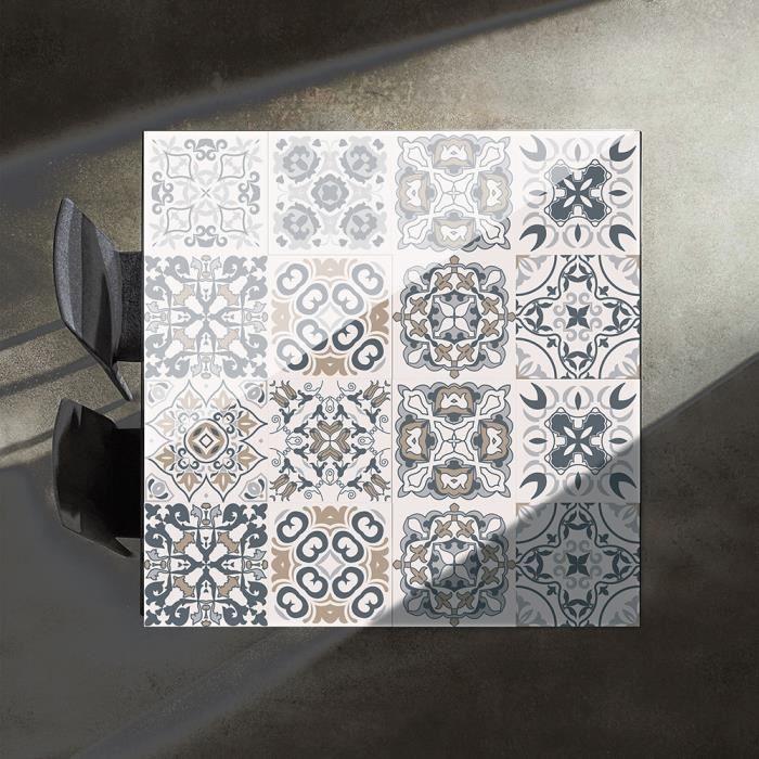 Sticker Autocollant Carreaux de Ciment, PVC Style Moderne Stickers Autocollant Muraux Étanche Décoration 10 pièces (20 x 20 cm)