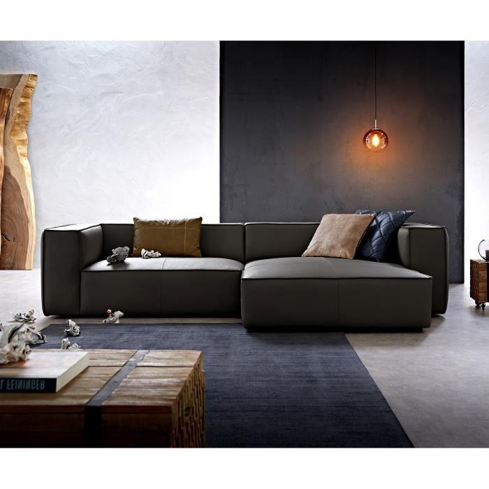 Canapé-d'angle Around the Block noir 300x165 cuir véritable chaise longue droite de W.Schillig