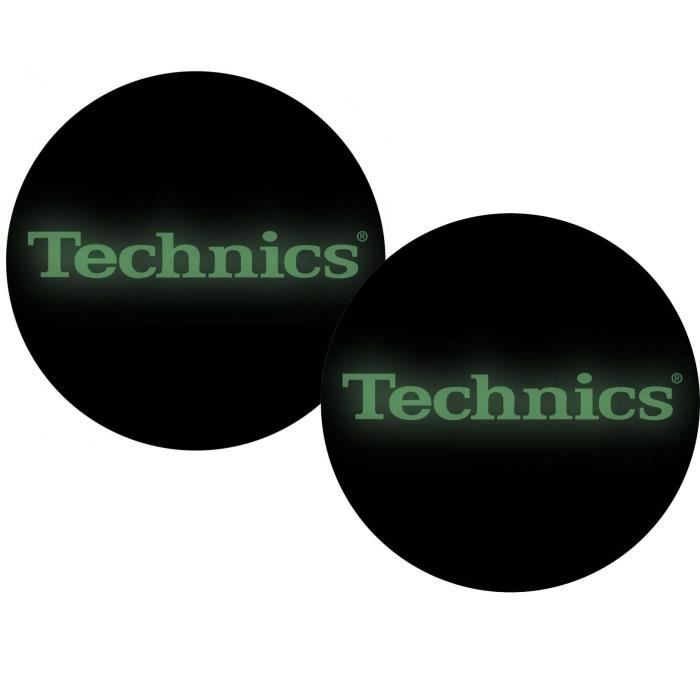 Feutrines Slipmats Technics Glow In The dark (Phosphorescent) à la lumiere noire