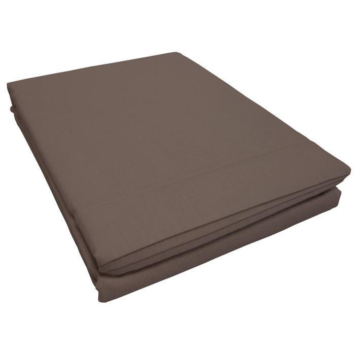 Drap plat coton INTIMITY 240x300cm noisette