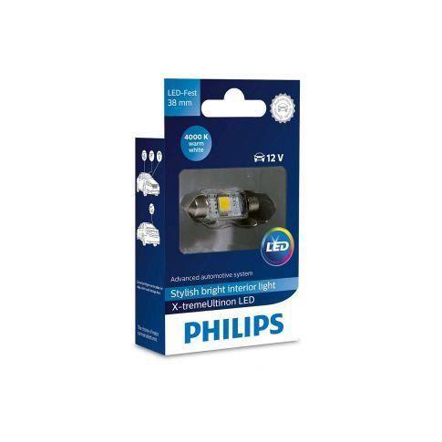 1x navette Philips 10.5x38 LED X-Treme Ultinon 4000K 12V C5W