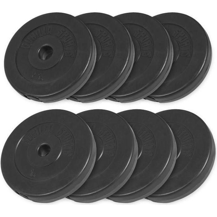 Gorilla Sports - Lot des poids en plastique de 30kg (4x5kg et 4x2,5kg) de diamètre 31mm
