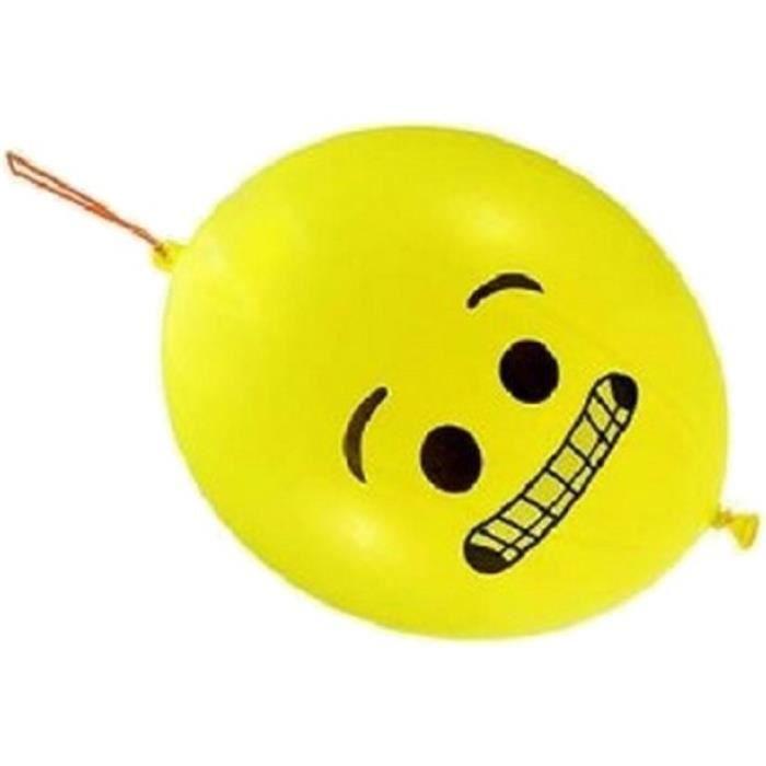 Sachet de 3 ballons baudruche (boxe/punching ball) funny jaune visage - NEUF