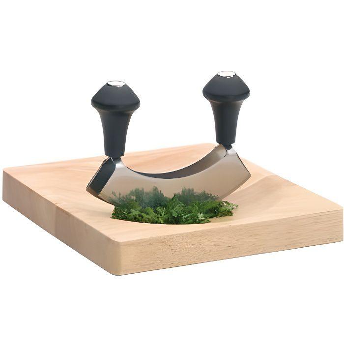 Hachoir berceuse double lame + Planche en bois