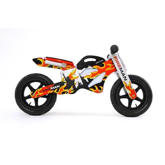 Vélo / Draisienne design en bois enfant 2-4 ans Gtx Fireman - Rouge.