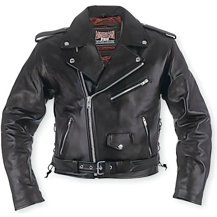 Blouson Lacets Rock Moto Cuir Ve...