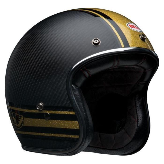 Casque moto Jet Homme BELL Custom 500 carbon Bomb (L - Noir/jaune)