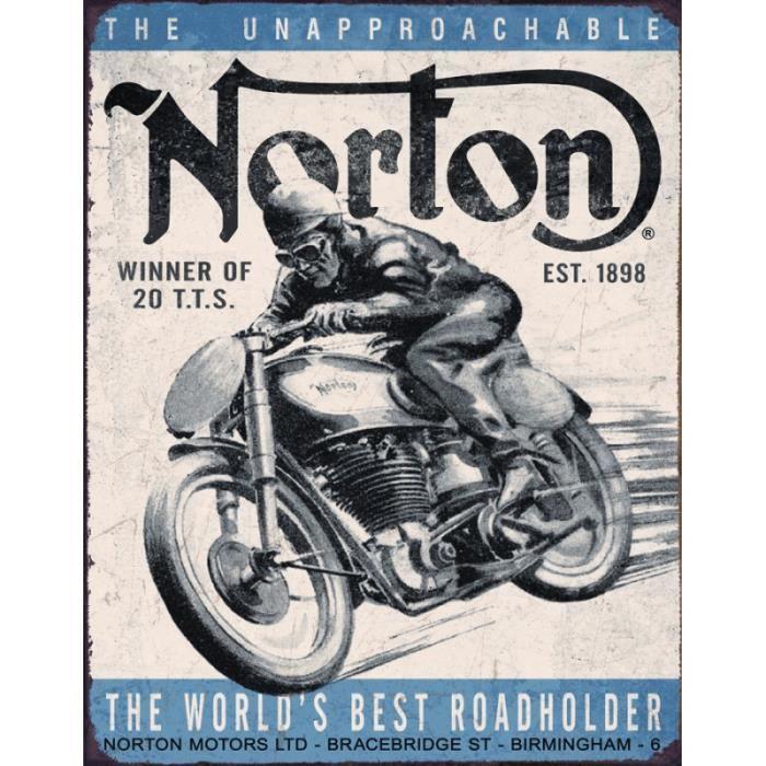 Plaque publicitaire métal 'Norton the world best'
