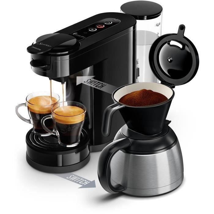 PHILIPS SENSEO SWICTH HD6592/61 Machine à café 2 en dosettes et café filtre - Verseuse isotherme - 1 L - Noir Intense