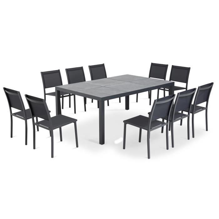 Table et chaises de jardin 10 places en aluminium et céramique gros anthracite, Tivoli Gris