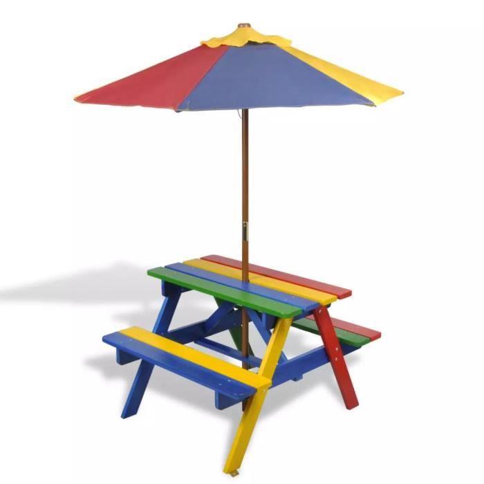 Haute qualité Table et bancs de pique-nique avec parasol pour enfants