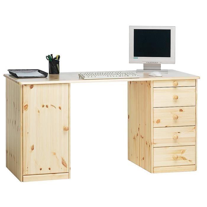 Meuble de bureau avec 1 porte et 5 tiroirs en pin coloris naturel verni, 150 x 60 x 77 cm