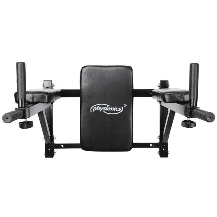 Physionics® Barre à Dips Murale - Poignées Rembourrées Extensibles, en Acier - Chaise Romaine Murale pour Musculation, Fitness