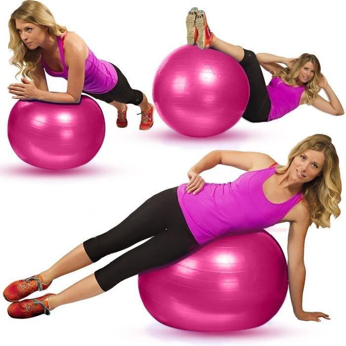 REMYCOO® Ballon de Gym professionnel 65cm Ballon d'exercice épaisse avec une Pompe Ballon de Balance et Stabilité pour Fitness rose