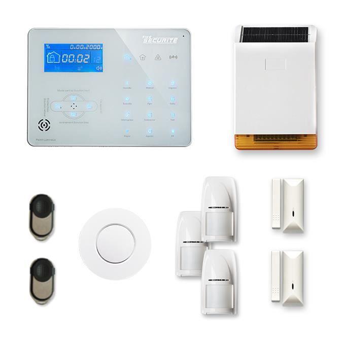 Alarme maison sans fil ICE-B 2 à3 pièces mouvement + intrusion + détecteur de fumée + sirène extérieure solaire - Compatible Box int