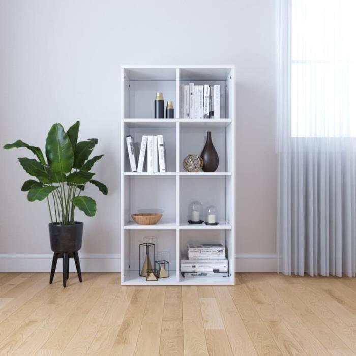 vidaXL Bibliothèque-Buffet Blanc brillant 66 x 30 x 130 cm Aggloméré-ALI