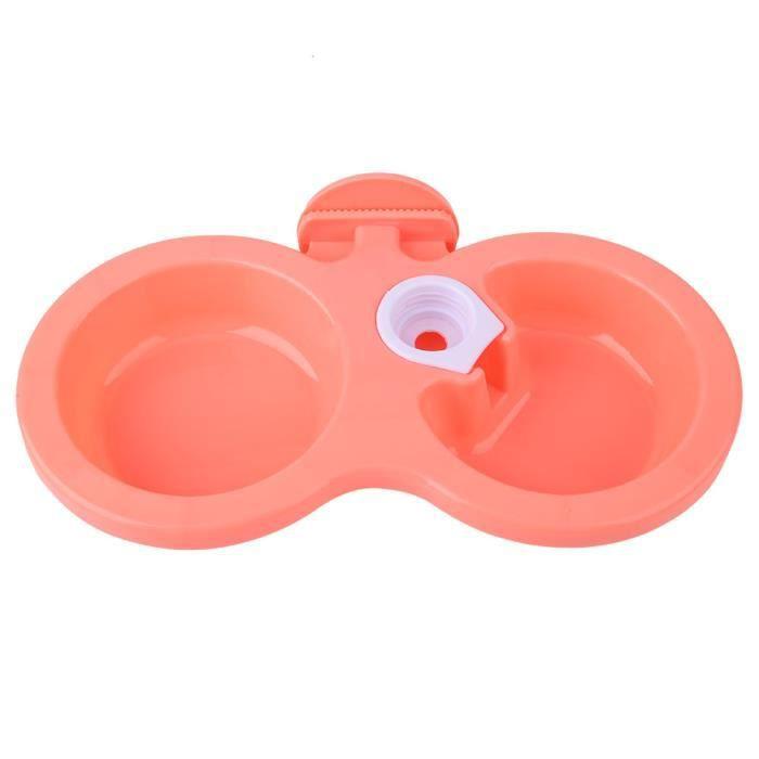 VINGVO Accrocher l'intestin d'eau de nourriture pour animaux de compagnie Mangeoire à eau suspendue à double bol pour chiot de