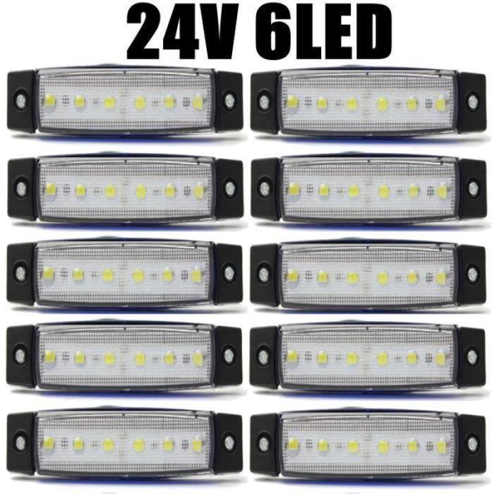 QQ21407- 10Pcs 24V 0.5W 6 SMD LED FEUX DE GABARIT LATERALE POUR CAMION CAMPER SHASSIS REMORQUES Blanc