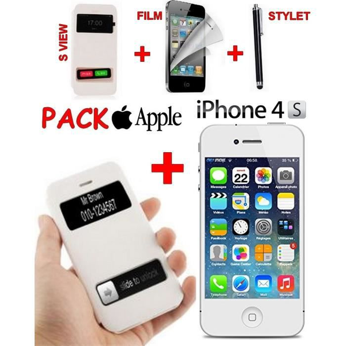 apple iphone 4s viex cover film stylet achat. Black Bedroom Furniture Sets. Home Design Ideas