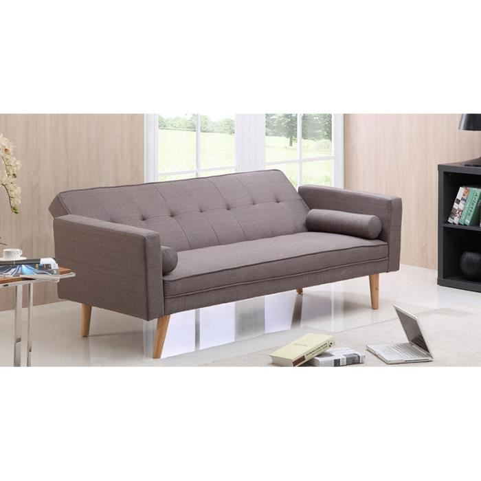 banquette clic clac gris en tissu achat vente clic clac cdiscount. Black Bedroom Furniture Sets. Home Design Ideas