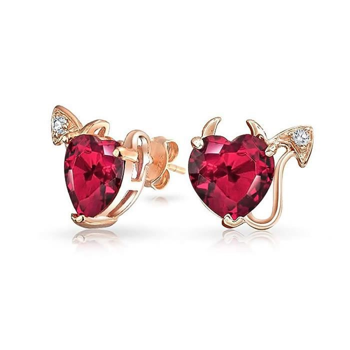 Bling Jewelry CZ plaqué Or Rose Coeur diable Ruby simulée dargent goujons