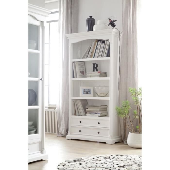 biblioth que avec 2 tiroirs blanche meuble house achat vente biblioth que biblioth que. Black Bedroom Furniture Sets. Home Design Ideas