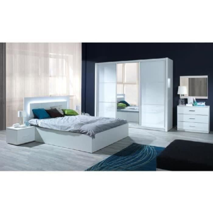 chambre coucher compl te elena led laqu e achat. Black Bedroom Furniture Sets. Home Design Ideas