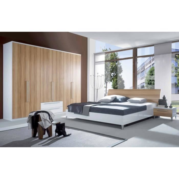 lit moderne laqu blanc noyer 140x190 180x200 achat vente ensemble literie lit moderne. Black Bedroom Furniture Sets. Home Design Ideas