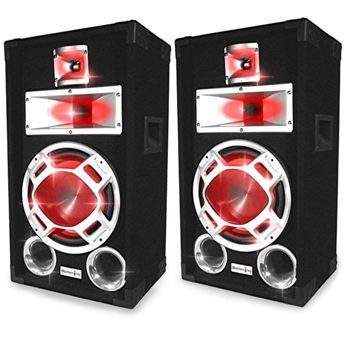 enceintes dj 2 x 400w boomers 25cm leds rouges enceinte et retour prix pas cher cdiscount. Black Bedroom Furniture Sets. Home Design Ideas