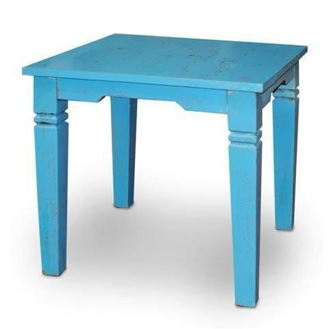 Table carree retro bois envielli bleu 80x80x achat for Table a manger carree bois