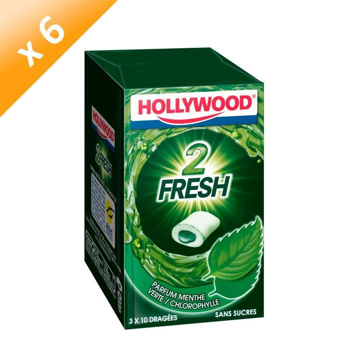 CHEWING-GUM Hollywood 2Fresh chewing-gum menthe verte sans suc