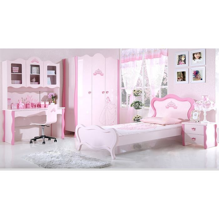 chambre enfant complete princesse rose achat vente lit complet chambre enfant complete pri. Black Bedroom Furniture Sets. Home Design Ideas