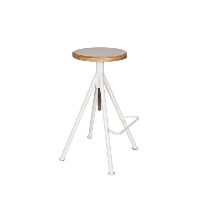 tabouret de bar vis m tal et bois lilo couleur blanc achat vente tabouret de bar blanc. Black Bedroom Furniture Sets. Home Design Ideas
