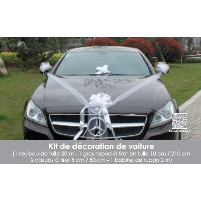 Kit Decoration Voiture Mariage Blanc Achat Vente Tulle Noeud