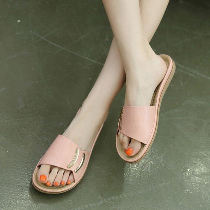 Été Mode Femmes Sandales plates flips flops Sandales en cuir Casual Chaussures Rose