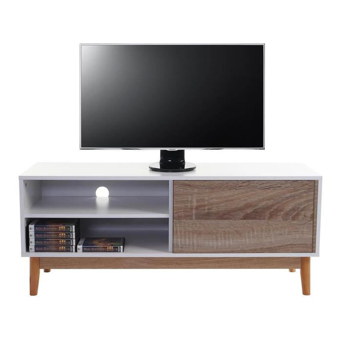 Meuble tv en long en rack 2 coloris achat vente meuble for Long meuble tv