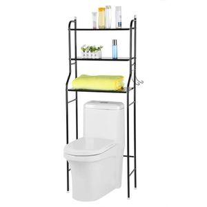 COLONNE - ARMOIRE WC Meuble toilettes WC métal blanc 3 tablettes étagèr