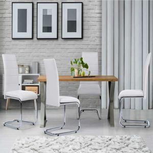CHAISE Lot de 4 chaises Mia blanches pour salle à manger