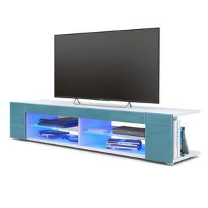 MEUBLE TV Meuble Tv blanc  mat  Façades en turquoise  laquée