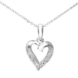 SAUTOIR ET COLLIER Revoni - Pendentif cœur en or blanc 9 carats et di
