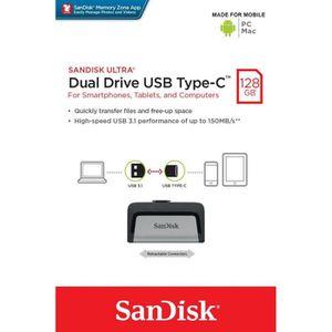 CLÉ USB SANDISK Clé USB Ultra Dual - 128Gb - 3.1 - Gris