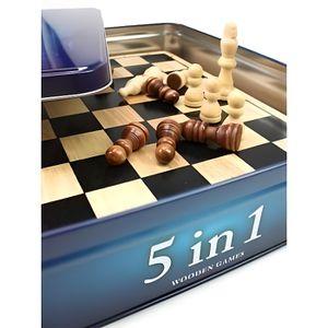 MALLETTE MULTI-JEUX TACTIC 5 jeux en 1 en Bois Boîte métal