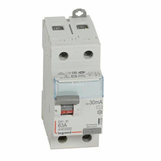 LEGRAND Interrupteur diff/érentiel DX/³ vis//vis 4 p/ôles 400V 40A type AC 30mA d/épart bas 4 modules