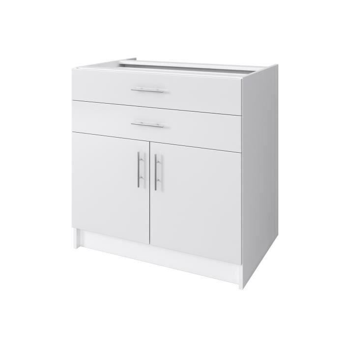 OBI Caisson bas de cuisine avec 2 portes, 2 tiroirs L 80 cm - Blanc et blanc laqué brillant
