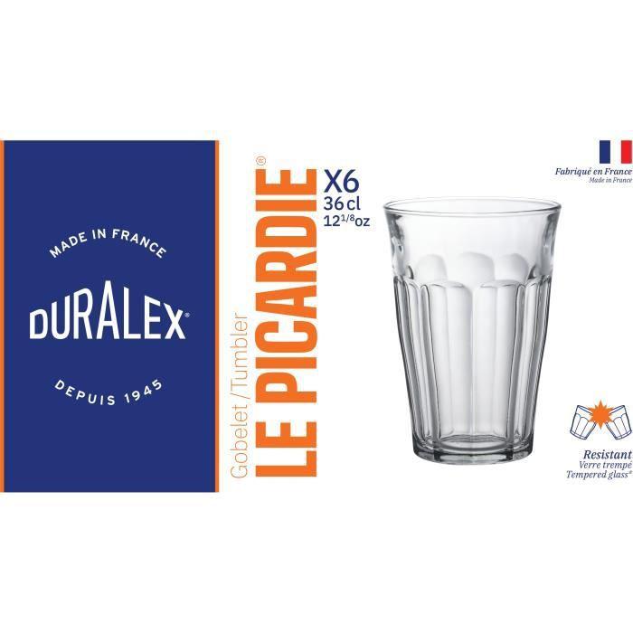 DURALEX Lot de 6 verres gobelets PICARDIE - 36 cl