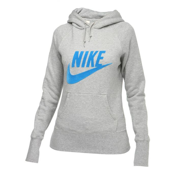 nike sweat capuche femme gris et bleu achat vente sweatshirt nike sweat femme cdiscount. Black Bedroom Furniture Sets. Home Design Ideas
