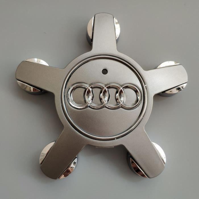 Jeu de 4 caches-moyeux Roue Emblème, pour enjoliveurs de 135 mm pour Audi (Gris)