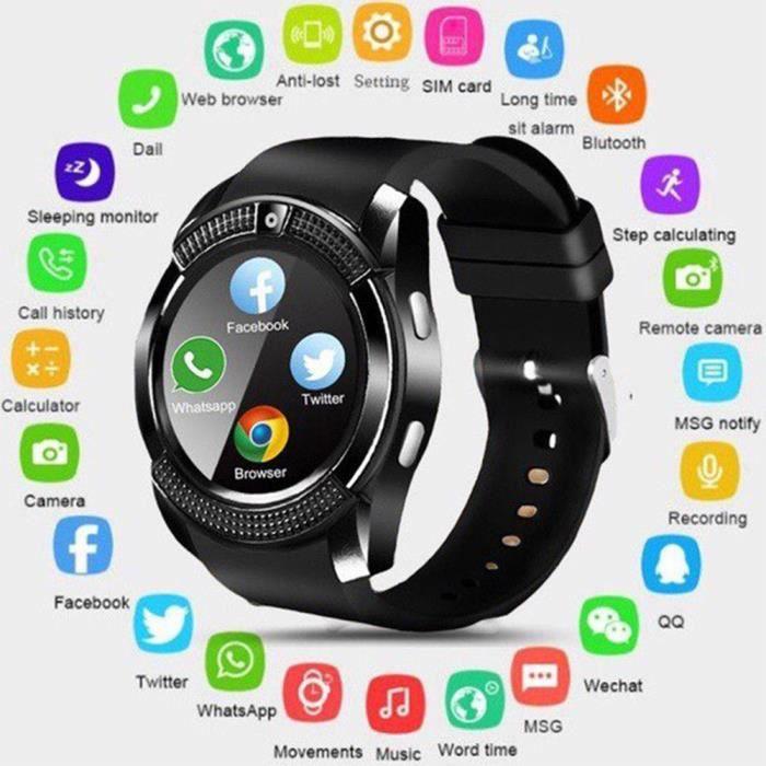 V8 Bluetooth Intelligent Montre Répondre À L'appel Montre Soutien SIM-TF Carte Caméra SmartWatch pour Android Smartphone Noir