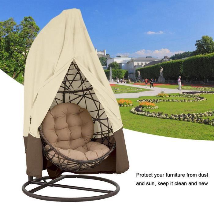 Couverture en polyester de meubles imperméable anti-poussière de balancelle/sofa/chaise pour extérieure/jardin/patio(beige+brun)-RAC